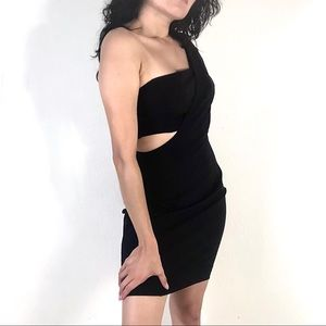 Marciano Black Cut Out Crepe Body Con Dress
